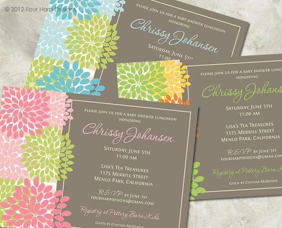 Baby Shower Invitation, Mod Blooms, Boy Girl or Gender Neutral - a printable invitation