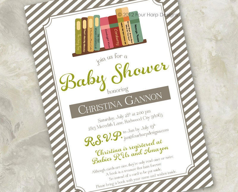baby shower invitation story time a by fourharpdesigns on etsy