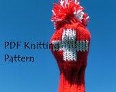 Instant Download Swiss Flag Schweizer Fahne Golf Club Cover - Red White Cross Suisse Schweiz Svizzera Team Switzerland PDF Knitting Pattern