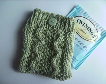 Sencha - Elegant Light Green Cable Knit Travel Tea Bag Cozy Holder or Jewelry Pouch II (Made to Order)