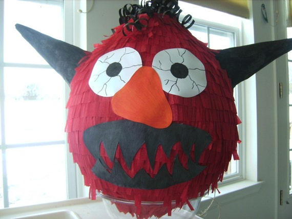 Cute Snuggly Monster Hitting Pinata Ready to Ship for Your Halloween Party