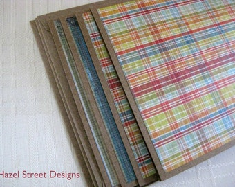 Not So Girly Note Card - Plaid or Stripes - You Choose