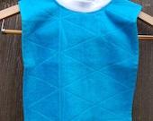 Toddler Towel Bib, aqua with white neck
