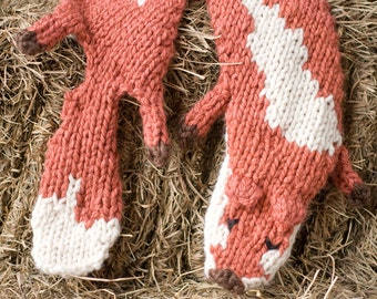 Knitted Fox Scarf Stole in Red
