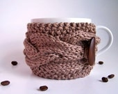 NEW - Camel Cup Cozy, Brown Mug Sleeve, Tea Coffee, Caramel Acorn Wood Woodland Toffee Corn, Fall Autumn Warm, Knitted Cabled