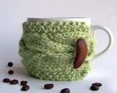 Green Apple Cup Cozy, Avocado Mug Sleeve, Grass Moss Sage Mint, Knitted Cabled