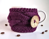 Purple Cup Cozy, Violet Mug Sleeve, Tea Coffee, Twilight Plum Eggplant Amethyst Aubergine Blueberry, Knitted Cabled