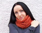 Orange Cowl Scarf Neck Warmer in Pumpkin Spice Rust - Spring Fashion - Womens Fashion - Spring Accessories - READY TO SHIP