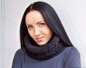 Black Friday Etsy - 30% Off - Chunky Cowl in Black, Neck Warmer - READY TO SHIP - Cyber Monday Etsy Free Shipping Etsy Sale