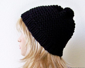 Knit Pom Pom Hat, Knit Hat With Pom Pom Hat, Chunky Knit Hat, Black Slouchy Beanie, Womens Pom Pom Hat, Mens Slouchy Beanie Knit Slouchy Hat
