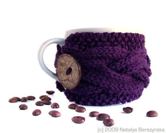 Purple Knit Coffee Cup Cozy, Mug Sleeve
