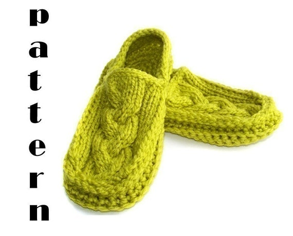 Knit Crochet Cabled Moccasin Slippers, PDF Pattern