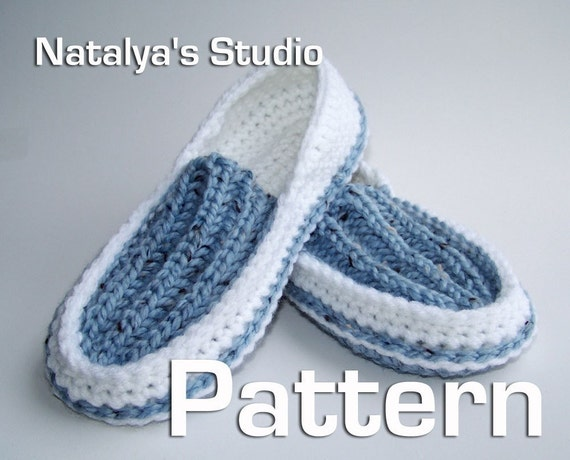 Patterns For Slippers To Knit Crochet : Knit Crochet Slippers Pattern Ribbed Moccasins PDF Shoes