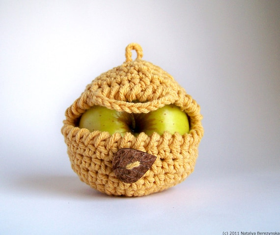 Yellow Apple Cozy, Honey Mustard Fruit Cozy - Cyber Monday Etsy - Cotton Lunch Mom Friend Coworker, Banana Harvest Crochet