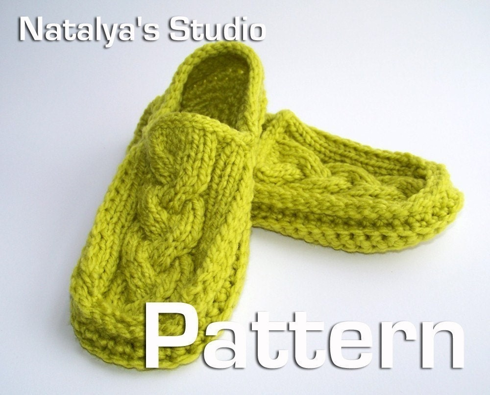 Moccasin Slippers Pattern Knit Crochet Cabled PDF Loafers
