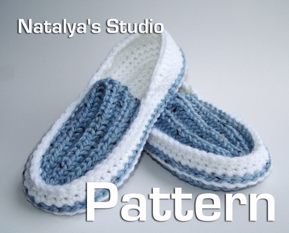 Knitted Moccasin Slippers Pattern : Knit Crochet Slippers Pattern Ribbed Moccasins PDF by Natalya1905