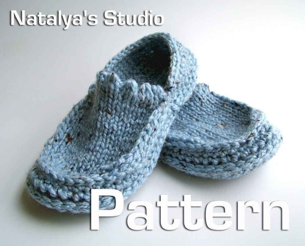 Knit Crochet Slippers Pattern Moccasins PDF Shoes Booties