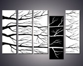 Sale 30 % off  60x36 Original Abstract Black And White Tree Painting Modern Art Online by Ada