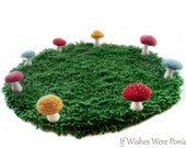 Small Rainbow Fairy Ring Rug With Colorful Speckled Toadstool Mushrooms -- 18 in. Decor or Display Setting