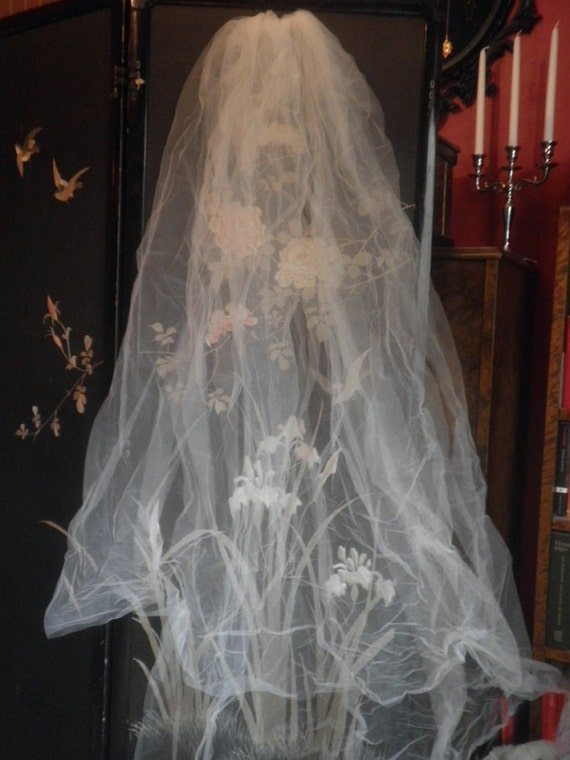 Ivory Wedding Veil Vintage Style Long Double Layer