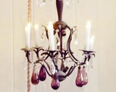 Vintage Amethyst Prism Rare Hand Blown Purple Chandelier Drop