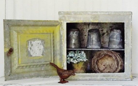 Vintage Metal Bread Display Cabinet Petite Size