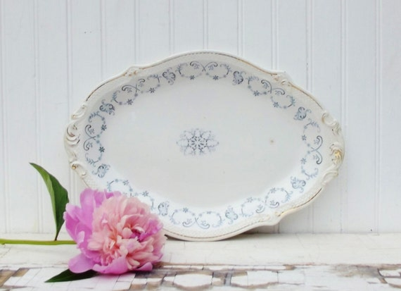 Antique English Transferware Platter Blue and White