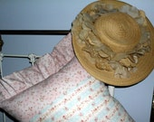 Shabby Chic Pillow Dainty Roses Pink and Blue makes Super Cottage Style