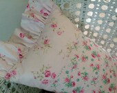 Shabby Chic Brocante style Pillow Pink Roses Abound