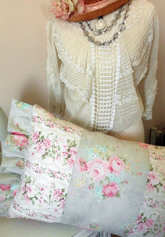 Cottage Shabby Chic Pillow with Roses Abound