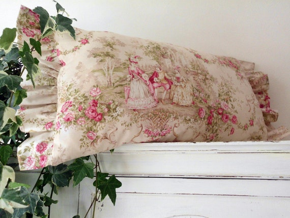French Toile Style pillow Versailles Marie Antoinette Pink Roses in Paris