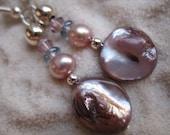 Mauve Purple Maube Mother of Pearl Crystal Silver Drop Dangle Earrings