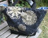 Black Purple Gold Medallion Scroll Handbag Tote Diaper Bag Lunch Laptop Travel