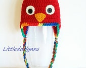 Red Parrot Hat Crochet Bird Beanie with ear flaps and braids girl boy Baby Newborn Toddler Teen Adult sizes photo prop