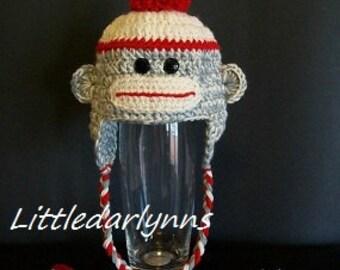Sock Monkey Hat Beanie Gray and Red Girls Boys Crochet Ear flaps Braids sizes Newborn Baby Toddler Teen Adult Photo Prop