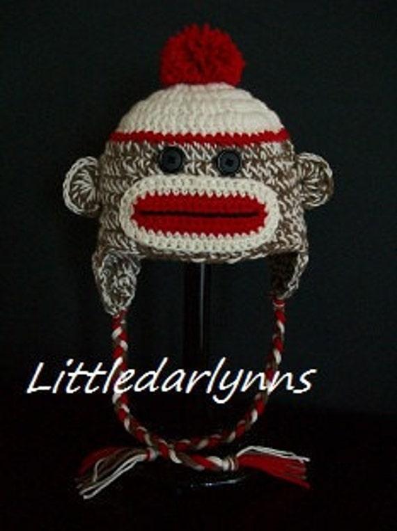 Sock Monkey Hat Crochet - Girls Boys Sock Monkey Beanie Hat - Adult Monkey hat - Photo Prop Hat
