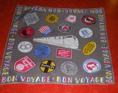 Bon Voyage Rare Railroad Collectible art deco handkerchief 40s 50s