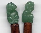 Green Jade Monkey and Wood Hair Sticks (were 26 dollars)