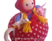 Lovely Margaret The Farmer with her Baby Pig and Little Goose Tea Cosy  PDF email KNIT PATTERN