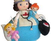 Sweet Nurse with Children Tea Cosy Email KNIT Pattern