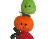 Orange, Pear and Strawberry PINCUSHION Pdf Email KNIT PATTERN