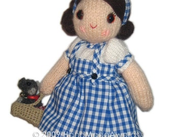 Dorothy girly doll with toto puppy dog from Wizard of Oz pocket friend knit pattern pdf email