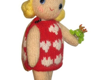 Monica Girly DOLL and her PRINCE Frog Pdf Email Knit PATTERN