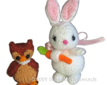 Sweet BUNNY with Carrot and Owl PDF Email Knit PATTERN