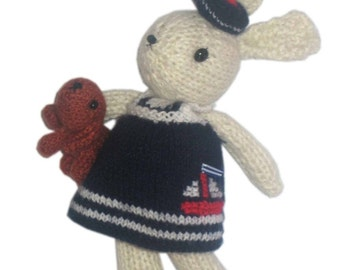 Sailor BUNNY with her Puppy Dog in Biarritz - France  PDF EmailL Knit PATTERN