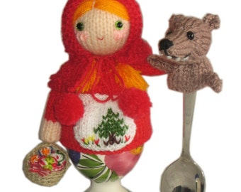 Little Red Riding Hood with Wolf Egg Cosy PDF Email Knit PATTERN