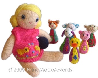 Lovely Monica girly Doll is playing BOWLS pocket friend KNIT Pattern pdf EMAIL