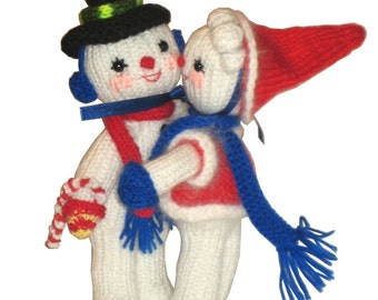Mr and Mrs Snowman are singing Christmas Carol PDF Email Knit Pattern