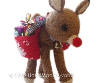 Christmas RUDOLPH REINDEER with Saddlebag full of Presents pdf email knit PATTERN