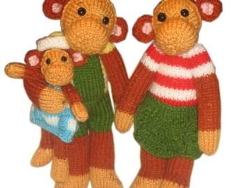 The Family Monkeys  PDF Email Knit Pattern